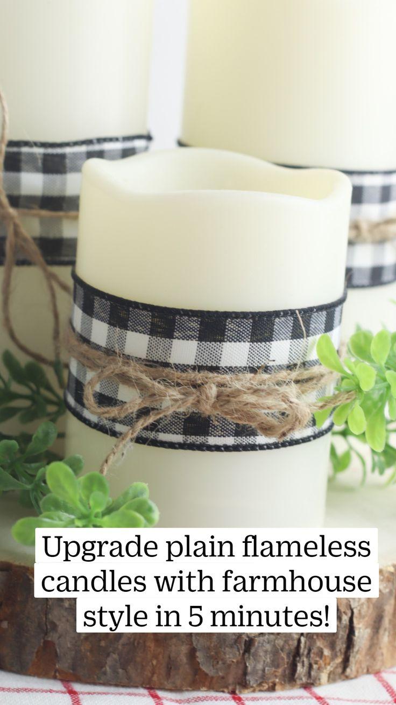 Farmhouse Candles, Farmhouse Chic, Rustic Home Design, Rustic Decor, Dollar Tree Crafts, Primitive Crafts, Centerpiece Decorations, Easy Diy Crafts, Buffalo Check