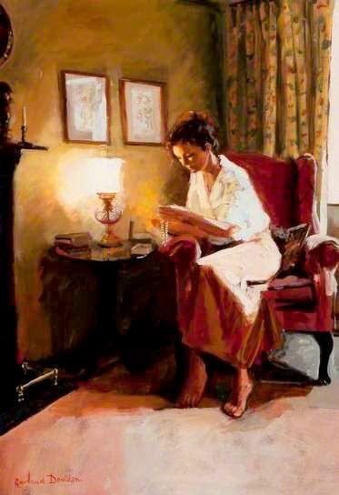 Lady reading a book by lamplight. Rowland Davidson (1942-) Ireland.