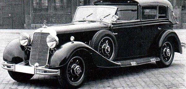 La Mercedes-Benz 500 N W08 III, photo d'époque, cette voiture de collection fut construite de 1936 à 1939, la Mercedes-Benz 500 N de 1936 mesure 1.85 mètres de large, 5.58 mètres de long, et a un empattement de 3.67 mètres.