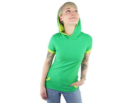Xs S M Shirt Mit Kapuze Grun Jersey Baumwolle Kapuzenshirt Handgemacht In Berlin Mit Bildern Shirts Baumwolle Kapuze