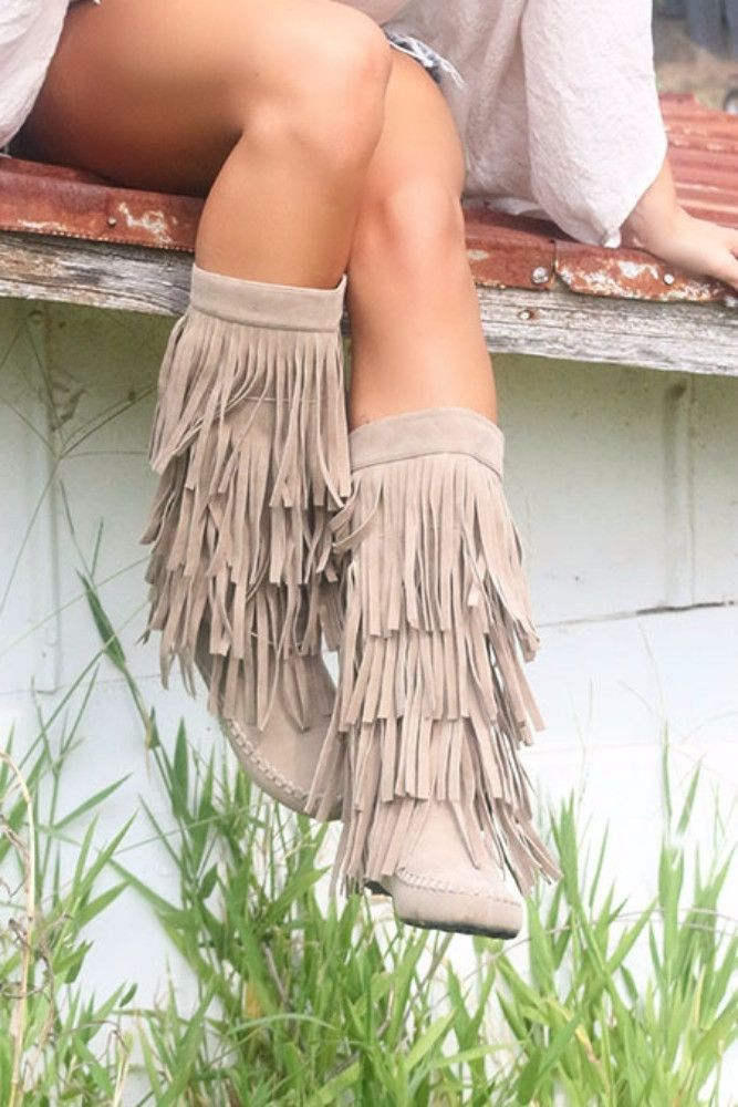 On The Fringe Beige Tall Flat Boots                                                                                                                                                     More