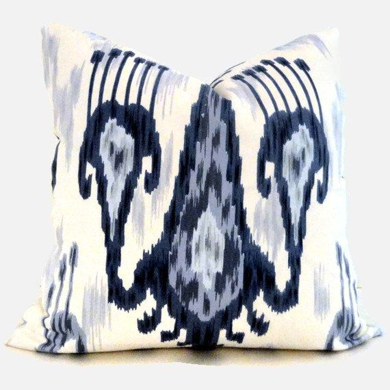 Blue And Black Pillows Part - 25: Wedgewood Blue And White Ikat, Robert Allen Decorative Pillow Cover 18x18,  20x20 Or 22x22