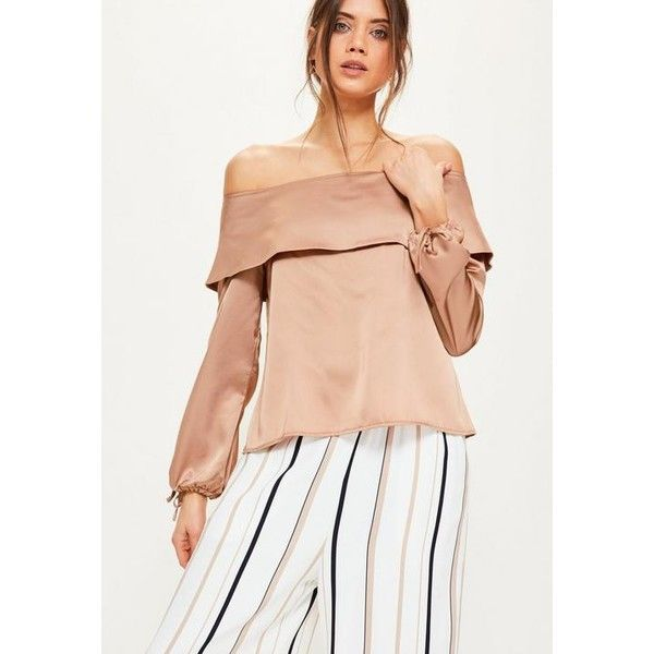 Missguided Tall Exclusive Brown Satin Folded Bardot Top ($45) ❤ liked on Polyvore featuring tops, nude, brown top, satin top, red top, tall tops and red satin top