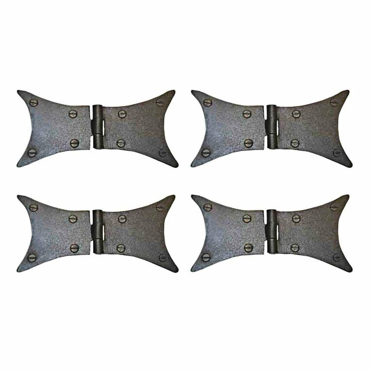 Wrought Iron Butterfly Hinges Black Rustproof Set of 4 (Renovator's Supply)