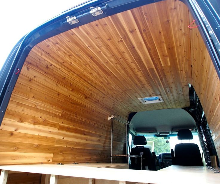 We love skiing. We love mountain life. We love the feel of rustic cabins. We love the smell of cedar. We wanted a real cabin on wheels. This means there was only one material we wanted to use for the walls and ceiling of the van: CEDAR PANELS! The process of applying cedar panels to the walls of the van took about 4 days with 2 people working in the van. Cedar paneling is not a cheap choice (about 25$ for 14 sq feet), however this is a choice driven by aesthetics and sensual perception…