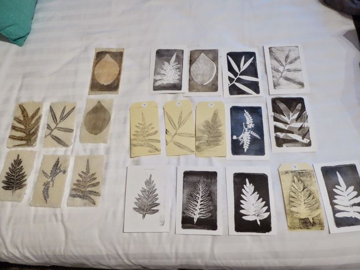 Gelli Plate printing on the go... Sandra Pearce  Gelli Plate prints of local plants, printed onto postcard blanks, japanese papers and tags