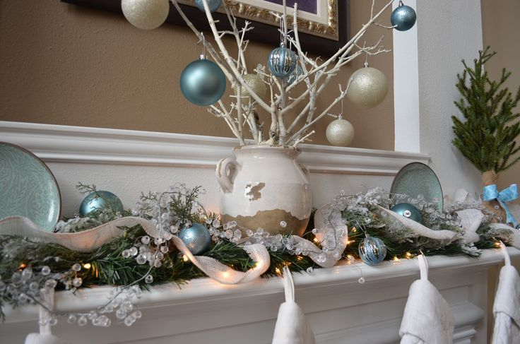 Furniture and Accessories. Wonderful DIY Burlap, Fresh Garland, and Fall Branches with Lovely Bling Blue and Glittered White Christmas Ornaments and Antique Chinese Plates for Warm Winter Theme Christmas Decoration Ideas. Fresh Natural Greenery for Simple yet Beautiful Christmas Centerpieces