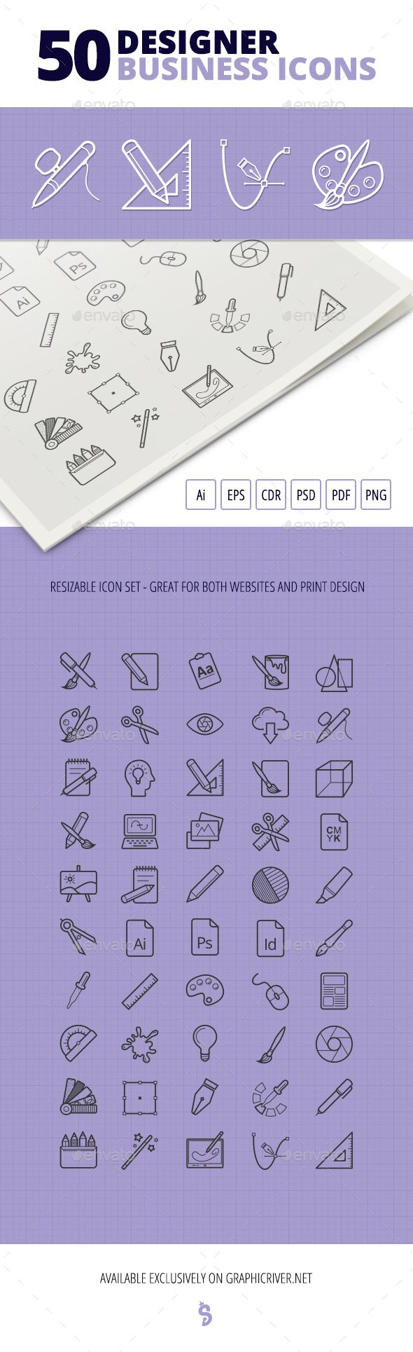50 Designer Business #Icons - #Business Icons Download here:  https://graphicriver.net/item/50-designer-business-icons/19529943?ref=alena994