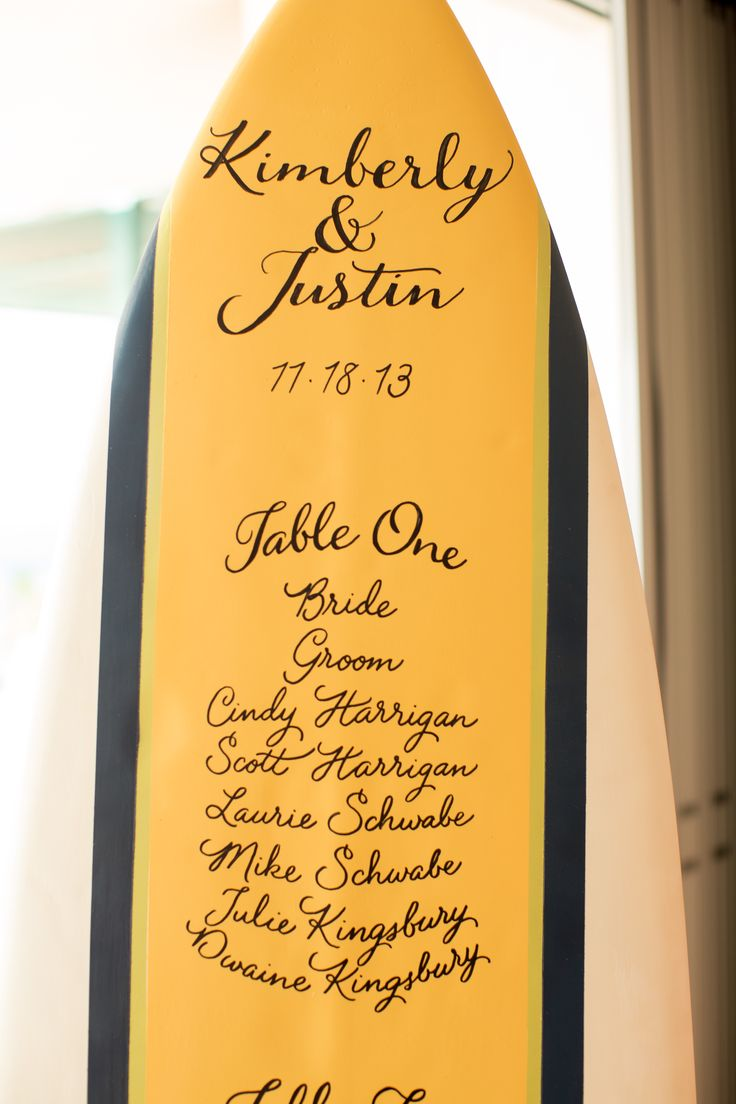 Yellow and Blue Surfboard Seating Chart