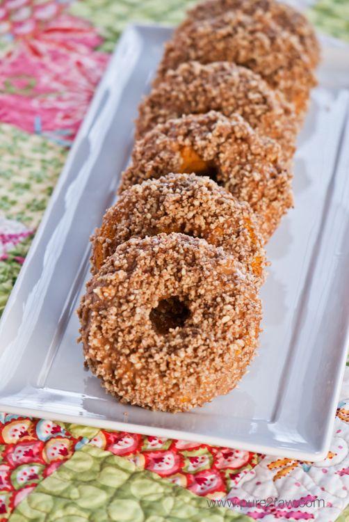 #GlutenFree/#Vegan Pumpkin Glazed Donuts with a Pecan Crumble: Pumpkin Donuts, Pecans Pumpkin, Donut Recipes, Glaze Donuts, Healthy Donuts, Gluten Free Vegans, Baked Donuts, Glutenfree, Donuts Recipes
