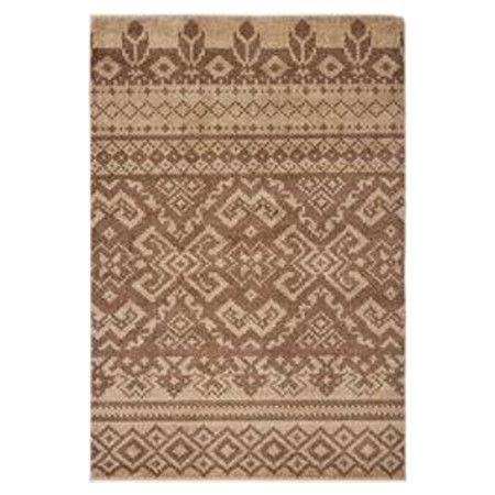 Stylishly anchor your porch or patio ensemble with this alluring indoor/outdoor rug, showcasing a Southwestern-inspired motif in camel and chocolate hues.