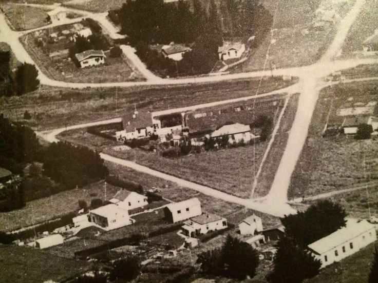 Aerial Photo of Ormondville circa 1947. In the triangle of roads stands the Ormondville Police Station five years after closing.