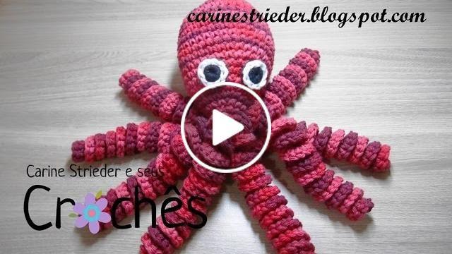 Veja nesse vídeo a artesã Carine Strieder ensinando passo a passo como fazer essa fofura de polvo em crochê.  Mais informações no blog: http://carinestrieder.blogspot.com.br/ ou na página do facebook: https://www.facebook.com/carinestriedereseuscroc