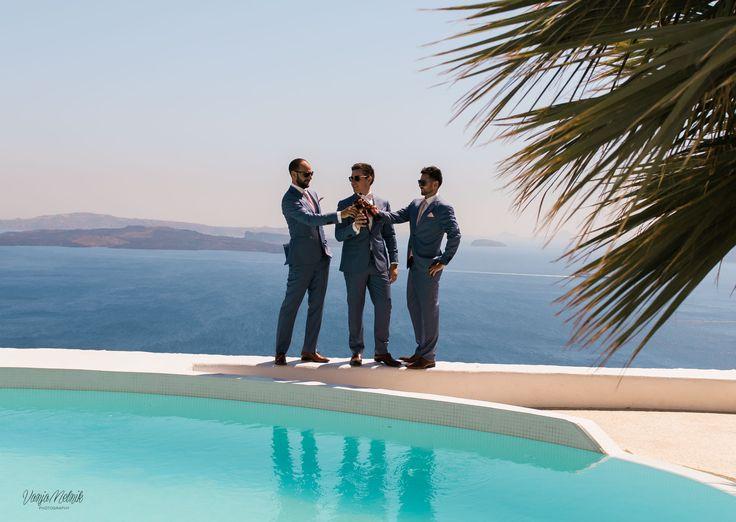 Groom, Best Man, Best Friends, Pool Side, Villa, Blue Skies, Beauty, Style, In Love, Villa, Santorini Weddings