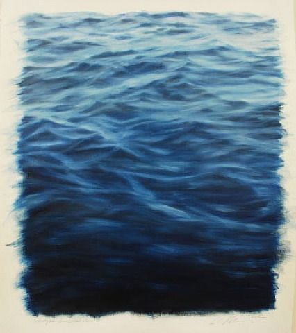 "Clifford Smith, Study for Ocean Blue Light, 2012, oil o paper, 22x18 American artist, b1951, realist, began ""ocean field"" paintings in the 1990's"