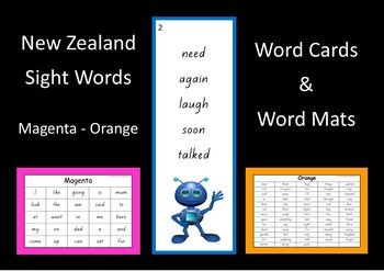 Word mats and word cards for words at the Magenta to Orange level of the colour wheel.Word Mats: *  provided in black/white or with a coloured border.*  one A4 size mat for each level.Word Cards: *  5 words on each card for Magenta to Blue.*  8 words on each card for Green and Orange.*  4 cards on each A4 size page.*  some words are written twice (just to fill up the last card at that level).*  the cards at each level have the same picture.*  the border and picture colour represent the…