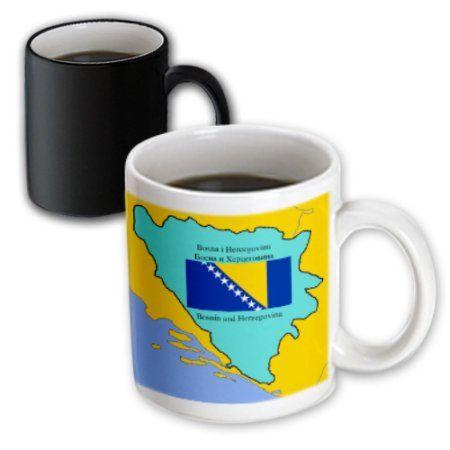 3dRose Map and Flag of Bosnia and Herzegovina with Bosnia and Herzegovina printed in Croatian and Serbian, Magic Transforming Mug, 11oz