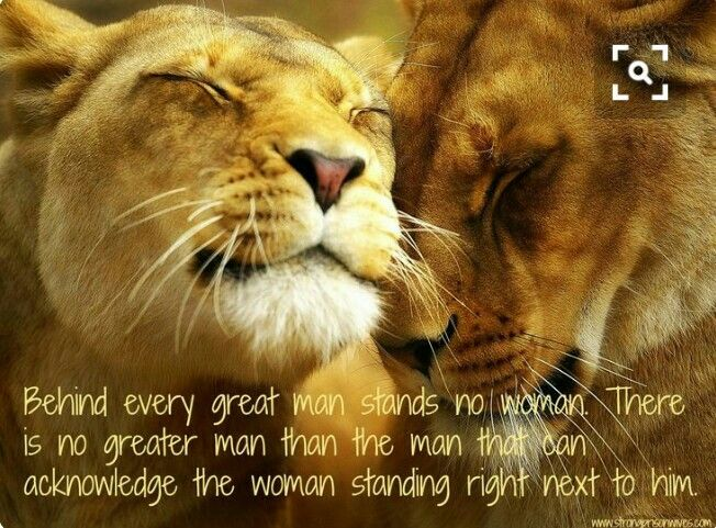 Behind every great man stands no woman .There is no greater man than the man that can acknowledge the woman standing right next to him .