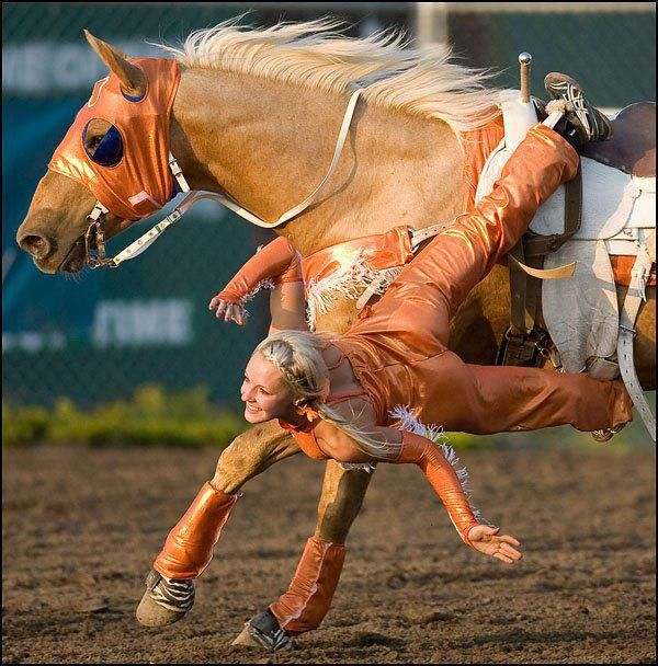"This is Krista Graham of the ""Graham Sisters Trick Riding Team"". Image taken by Ryan Jackson for the Edmonton Journal."