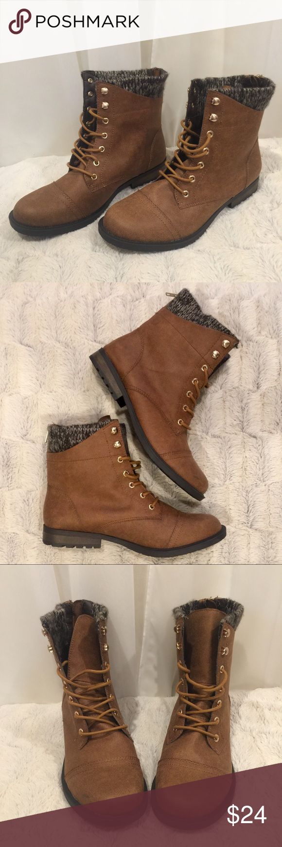 "Sweater Detailed Lace Up Ankle Boots Boots are by Curfew and are in a size 11.  They're a dark camel color with gold accents, and black and grey sweater detailing around the top.  They have a wide tongue, functional zippers in the back & grips on the heel. Boots are in great, like new condition and have a medium width.   Not Accepting Trades  Note to ""Scammers"": I film my entire packing process so don't even try it. ❤️ Curfew Shoes Ankle Boots & Booties"
