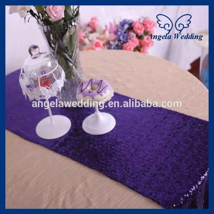 Party wedding table linens for sale from angela0810 are now in discount. Lace table runner table linens wholesale is suitable for your elegant wedding. Decoration of tables, table liner in ru017d custom made hot nice wedding 12''*108'' sequence eggplant purple sequin table runner.
