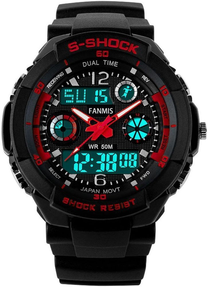 S Shock Military Analog Digital Display Multifunction Dual Time Alarm Watch Red  | Jewelry & Watches, Watches, Parts & Accessories, Wristwatches | eBay!