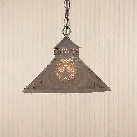 primitive tin lighting | Stockbridge Shade Light With Star Design | Irvins Country Tinware ...