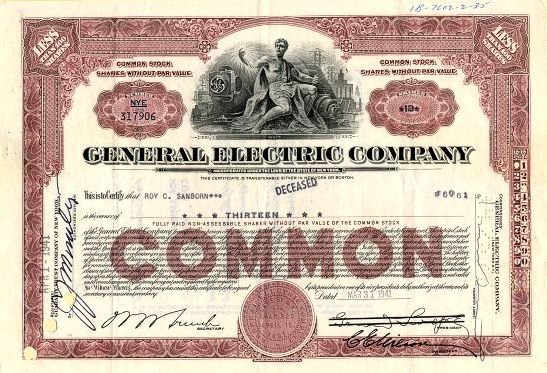 General Electric Company Stock Certificate 1941