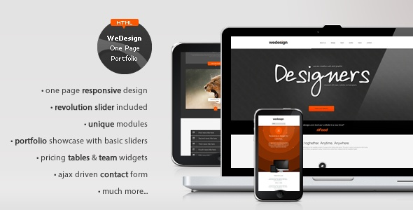 WeDesign - One Page Responsive Portfolio - ThemeForest Item for Sale