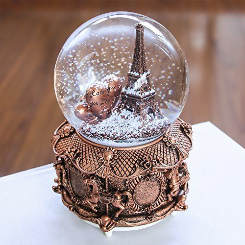 Light Tower Globes: Paris Snow Musical Globe With Color Changing LED Lights