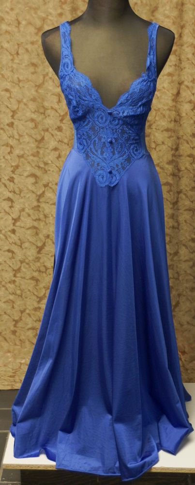 OLGA M SWEEPING BLUE VINTAGE NIGHTGOWN #Olga******olga, with the famous sweep, and a heavenly BLUE.  bonkers is what I am.