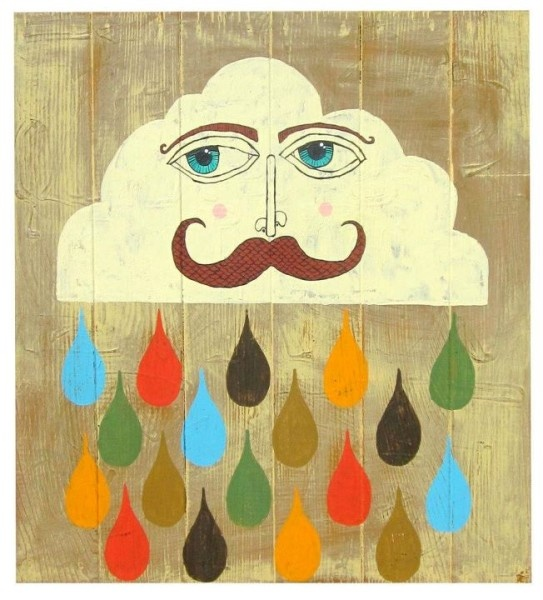 """I so super love this piece by our friend @Brian Phillips. """"Who Stopped the Rain?"""" - Acrylic on salvaged wood fastened to a salvaged screen print frame. 21""""w X 23""""t. *Collection of Chris and Sarah Overpeck"""
