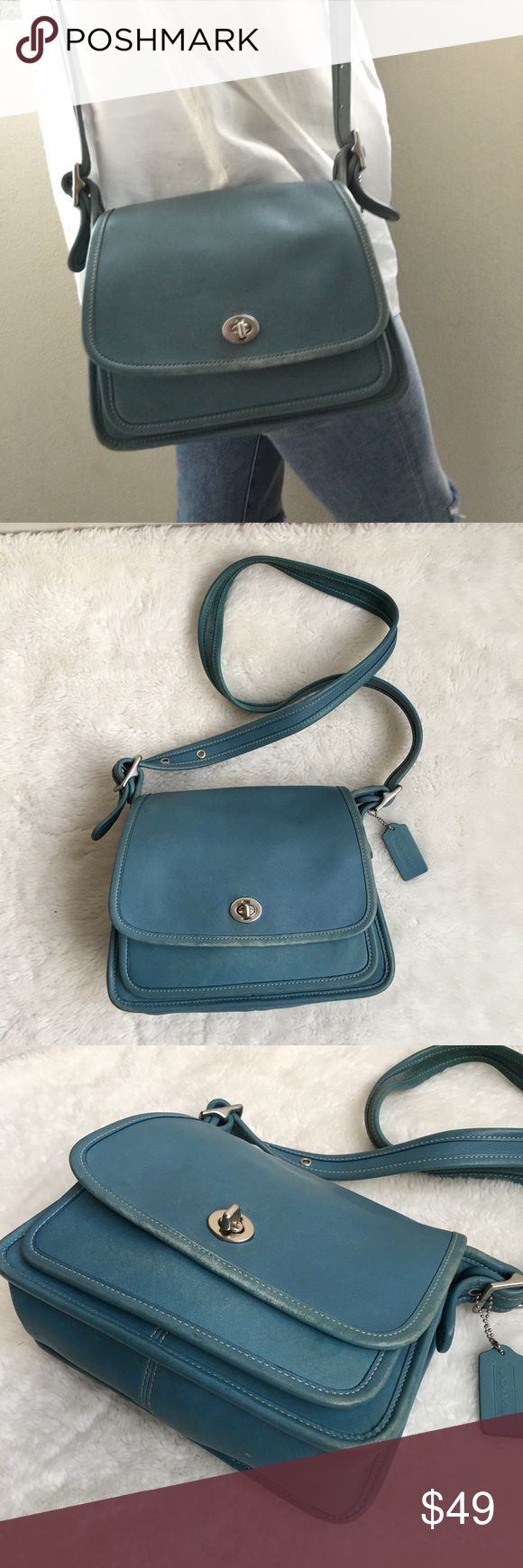 "Vintage Coach Legacy Blue Leather Flap Bag Pre-owned authentic Vintage Coach Legacy Blue Leather Flap Bag. It measures 9.5x8"" inches. Strap is 43"" inches. Made in Costa Rica. No. C05Q-9870. Bag has signs of wear and patina throughout due to its age. Please look at pictures for better reference. Happy Shopping! Coach Bags Crossbody Bags"