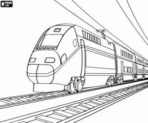 Coloriage Train de passagers sur les rails
