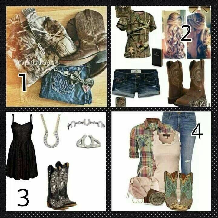 Ah, love all four of these country / southern girl outfits :) so cute!!