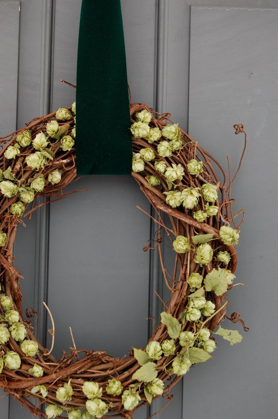 12 Inch Dried Hops Wreath Home Brewers by MarieStephensDesign