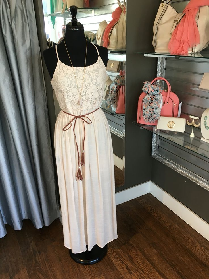 Lace Bodice Boho Maxi Dress (Available in Cream and Dusty Pink/Taupe) - The braided belt ties the dress together! This dress looks amazing on and it very light which is perfect for hot summer days. (Lace Bodice Boho Maxi Dress $74CAD) #summer #summerstyle #fashionista