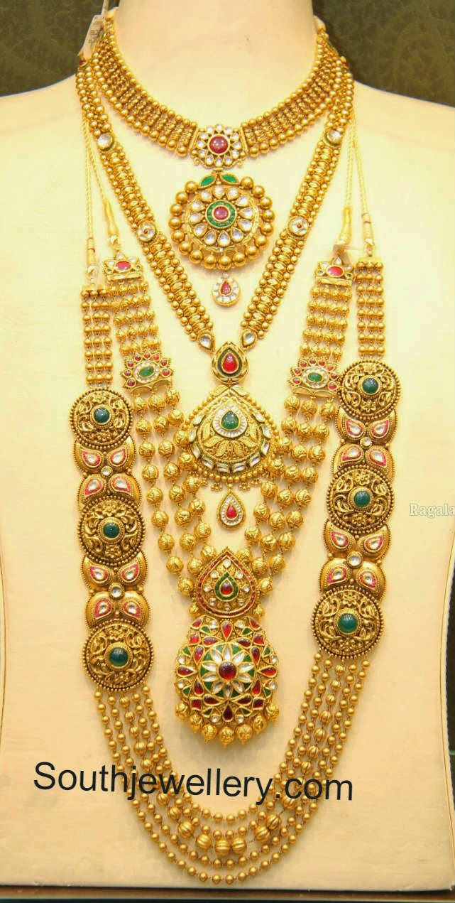 Beautiful 22 carat gold chains with matching pendant designs latest - Malabar Gold Antique Necklace And Gundla Mala Collections Jewellery Designs