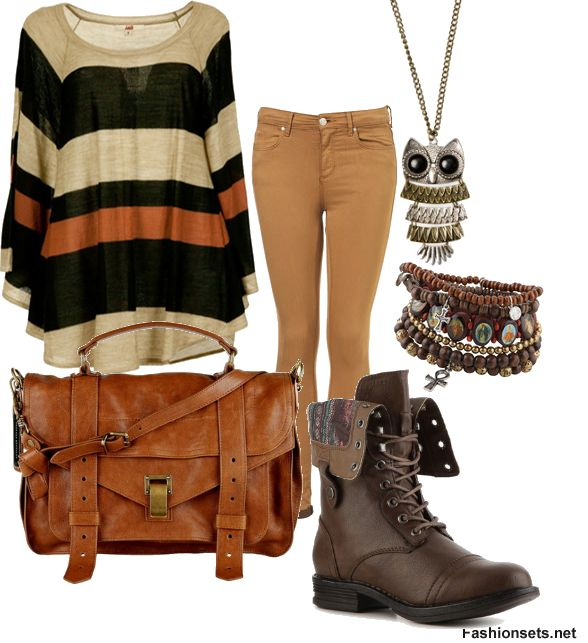 Oversized Striped Sweater + Tan Skinny Jeans + Brown Combat Boots + Leather Messenger Bag | Just ...