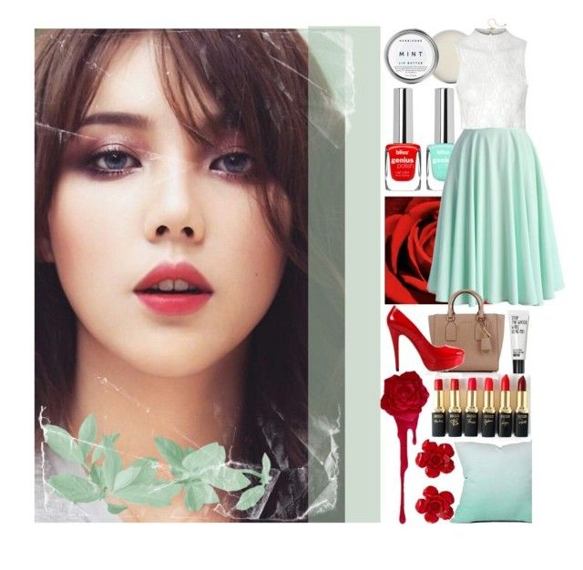 BLOOD MINT by counterkitty on Polyvore featuring polyvore, fashion, style, Glamorous, Chicwish, Posh Girl, Michael Kors, Chanel, Mixit, Herbivore, DENY Designs, L'Oréal Paris, clothing, red, GREEN, mint, korean and pony