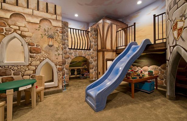 Kids room:Fun Kids' Playroom Decoration Ideas Basement Kids Playroom Ideas With Amazing Slide Entry Design Also Beautiful Wall Theme Plus Small Kids Table And Chairs With Brown Nuance IKEA Playroom Ideas