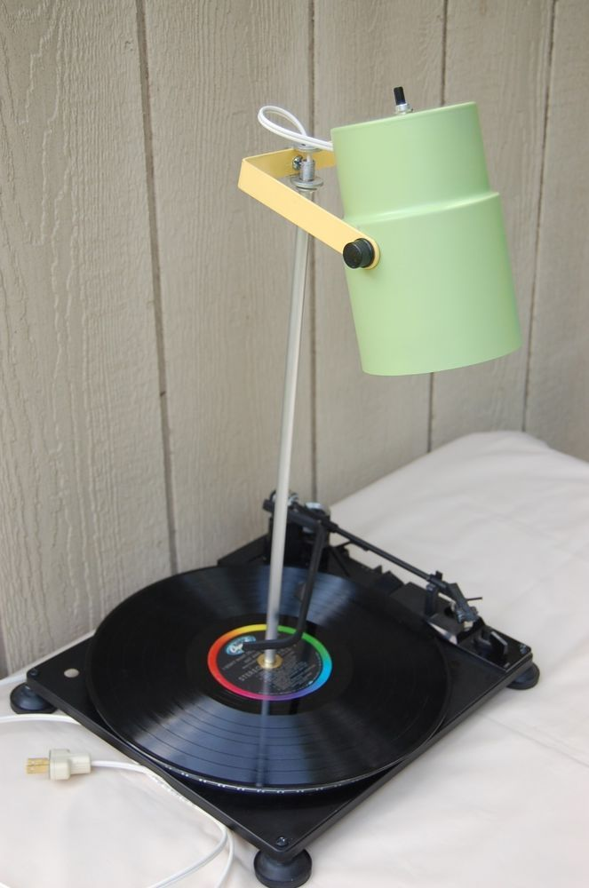 Desk Table Light Record Player Turntable Lamp Repurposed