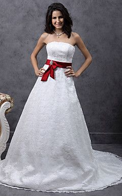 A-line Sweetheart Court Train Lace Satin Belt Wedding Dress  – USD $ 199.99