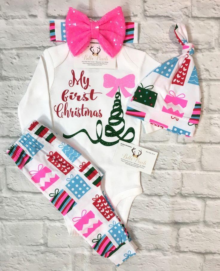 Baby Girls Clothing, My First Christmas Onesie, My First Christmas Red and Neon Pink, My First Christmas Shirt, Babies First Christmas Onesie, Christmas Outfits, Baby Girls Christmas Outfits, Baby Girl Baby Shower - BellaPiccoli