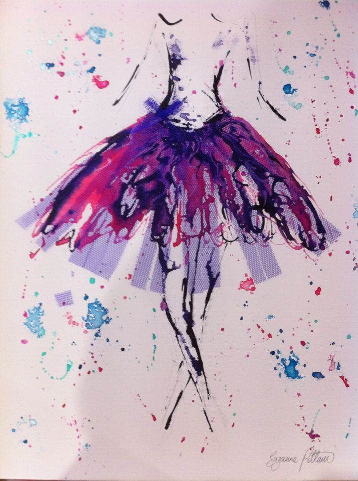 "SOLD!! ""Purple tulle lady"" - inks & acrylic on canvas. For sale now at Cafe Jilarty at Rainbow, Rainbow Beach."