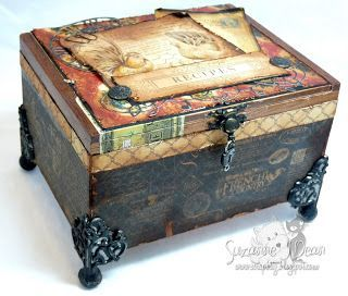a cigar box I altered by adding papers, images, and hardware to...vintage country by Suzanne J Dean of ScrapBitz