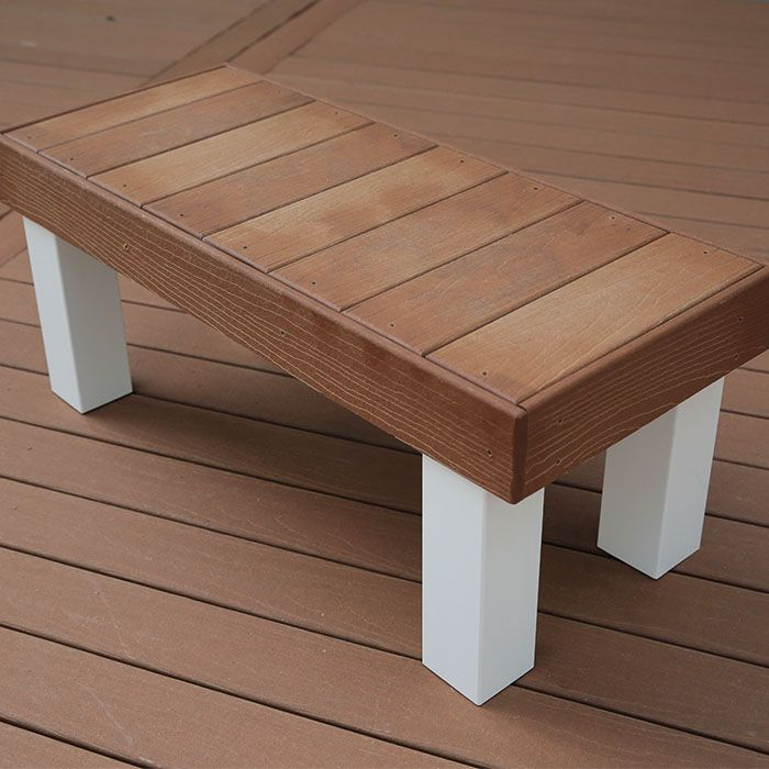 Wooden Bench Covered with Composite Deck Boards.