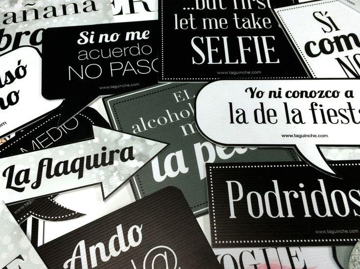 """Letreros para fiesta """"Blanco y Negro"""" www.taguinche.com"""
