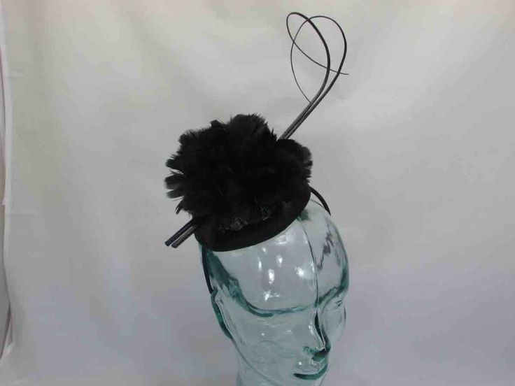 Pillbox fascinator covered in feathered flowers with double quill on an alice band in black Shipping  Free delivery on all orders over £40 Standard delivery £3.95  Express next day delivery £7.95  European Shipping £10.00Rest of World £15.00