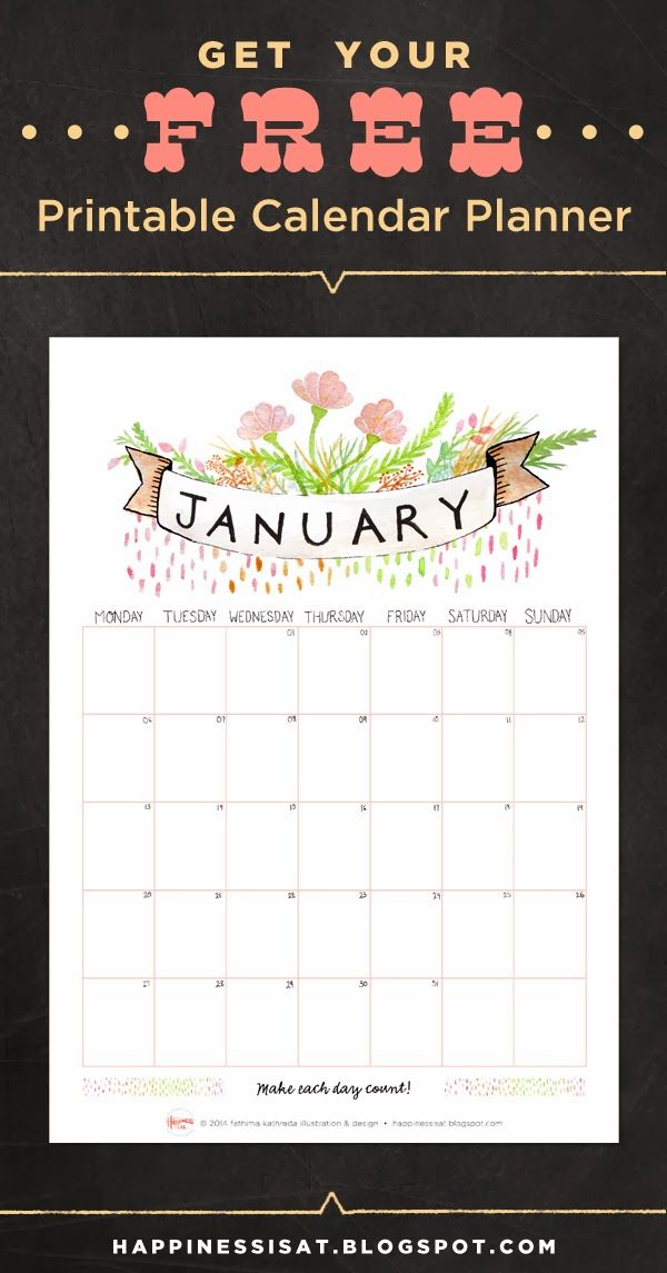 Free printable January 2014 calendar page! Designed & illustrated by fathima at Happiness is...